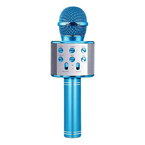 Celecstan Microfono per Bambini Karaoke, Macchina per Canto Ragazza Microfono Famiglia Regalo per Feste Ragazza Ragazzo Bambino Microfono Senza Fili Bluetooth Microfono Rosa