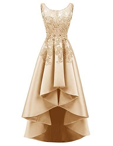HUINI Elegant Abendkleider Ärmellos Spitzenkleider Vintage Cocktail Partykleider Wadenlang Satin Brautkleider Hochzeitskleider Champagne-Gold 40