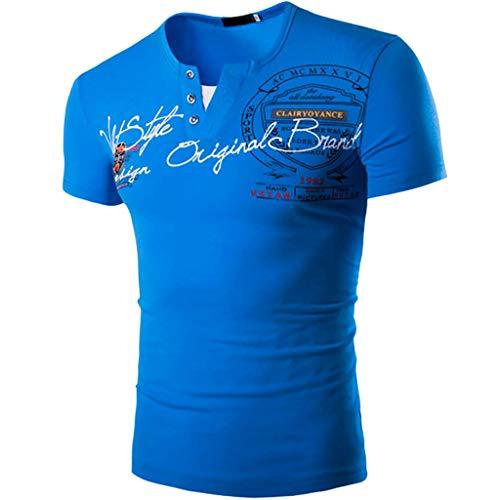 TIFENNY Heren Mode V-hals Letter Print Knop Persoonlijkheid Shirt Casual T-shirt met korte mouwen Blouse Tops Tee
