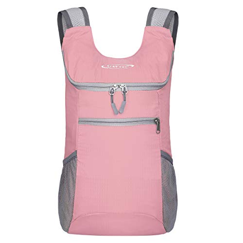 G4Free Lightweight Packable Shoulder Backpack Hiking Daypacks Small Casual Foldable Camping Outdoor Bag 11L(Light Pink)