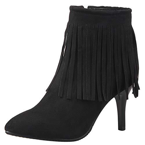 Garggi Donna Stivali con Le Frange Tacco A Spillo Polacchine Zip Donna Tacco Alto Boots Classico Autunno Boots Festa Vestito Boots Nero Numero 35 Asiatico