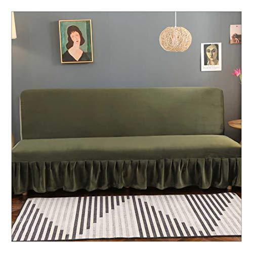 DDHBC Felpa Funda elástica para sofá Cama sin reposabrazos,Tejido Jacquard de poliéster Funda con Falda-Verde Oliva M(150-170cm)