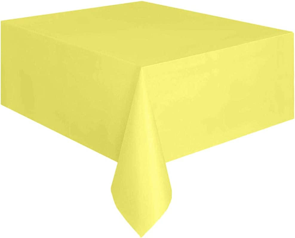 Mome Rectangle Table Cover 1PC Large Tablecloth Covers Disposable Plastic Tablecloth Kitchen Dining Party Indoor Outdoor Tabletop Supplies Yellow