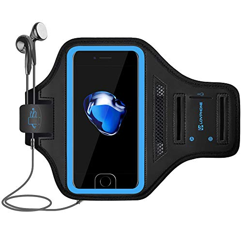LOVPHONE iPhone 12 Mini/iPhone 11 Pro/iPhone X/XS Armband, Sport Running Exercise Gym Case with Key Holder & Card Slot,Fingerprint Sensor Access Supported and Sweat-Proof (Blue)