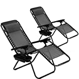 Vnewone Zero Gravity Chair Set of 2 Patio Folding Anti Reclining Lounge Deck Foldable Yard with Pillow and Cup Holder, Black