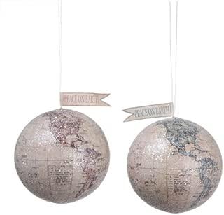Creative Co-op Peace on Earth World Ornaments, Set of 2