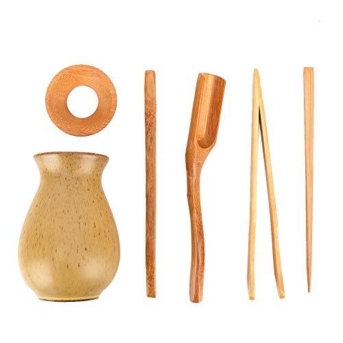 Kit de té, 6 piezas Herramienta de té de Kung Fu de estilo tradicional chino Kit de herramientas de té de bambú Accesorios de té de bambú Set de utensilios de ceremonia de té chino Kongfu
