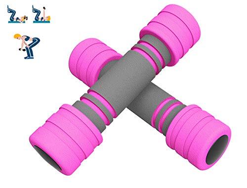 Übung Hanteln Für Frauen 1 Paar High-Density Foam Hanteln Langlebiger Arm Muskel Übung Hanteln Für Heimgymnastik Übung Männer Frauen Senioren Jugendliche Und Jugendliche,Pink-1kg*2