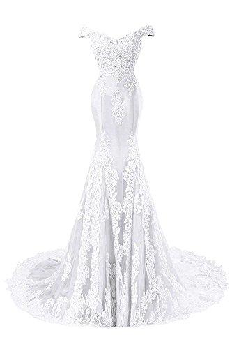 JAEDEN Ballkleider Abendkleider Meerjungfrau Lang Hochzeitskleider Schulterfrei Satin mit Schleppe Weiß EUR38