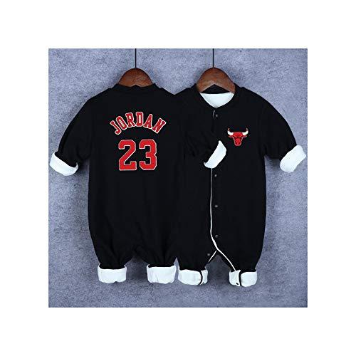 GHQYP Strampler Junge No.23 Michael Jordan Baby Geschenk für Neugeborene,Jumpsuit Herren Kuschelig,Baby-Softshell-Overall,Black5,66CM(3-6Months)
