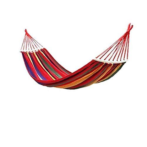 PrittUHU Hamaca de Lona portátil Viajando Picnic al Aire Libre Silla de Madera Camping Colgante Muebles de jardín con Mochila (Color : Red(2 Type))