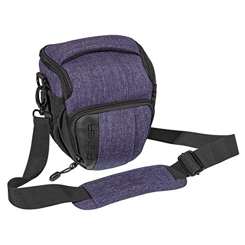 PEDEA DSLR-Kameratasche Fashion Fototasche für Spiegelreflexkameras mit wasserdichtem Regenschutz, Tragegurt und Zubehörfächern (Größe M, lila)