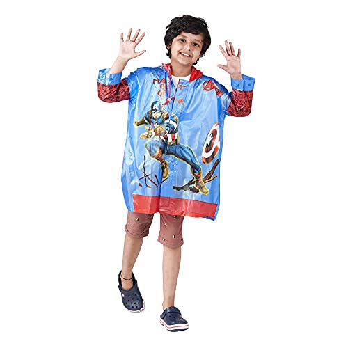 ZEEL Kids Raincoat with Hood | Rain Coat for Boys |Cartoon Printed Rainsuit with Backpack Design |Avengers | BLUE-RED | 32 | 5-6Yrs | B08