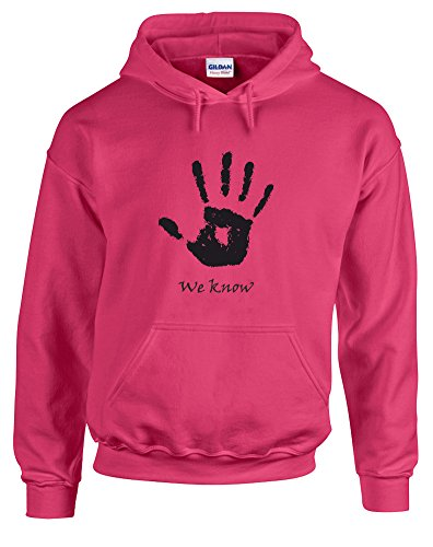 We Know Handprint, Printed Hoodie - Heliconia/Black L