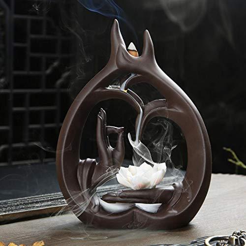 YYW Juego de quemador de incienso de reflujo con 20 conos de incienso y 30 varillas de incienso Deco Home Ceramic Backflow quemador de incienso (1)