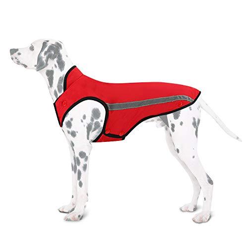 SlowTon Hunde Winterjacke, Hundemantel Einstellbare Hals und Brustgröße Haustier Weste mit Reflektierenden Streifen Wasserdicht Hundepullover Schneeanzug Warm halten (XXL, Rot)