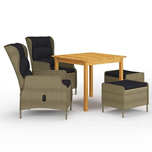vidaXL Juego de Comedor para Jardín de 5 Piezas Muebles Mobiliario Exterior Terraza Balcón Hogar Cocina Mesa Silla Asiento Suave Estable Marrón