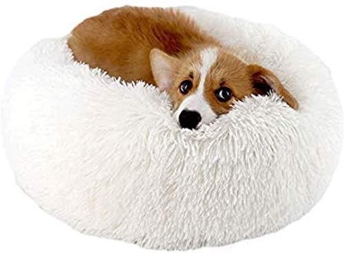 YAOSHUYANG Cama para mascotas blanca – Cama para perros extra suave, lavable, cómoda cama para mascotas, sofá de felpa, impermeable, redondo, cojín para gatos (80 x 26 cm) (tamaño: 120 x 26 cm)