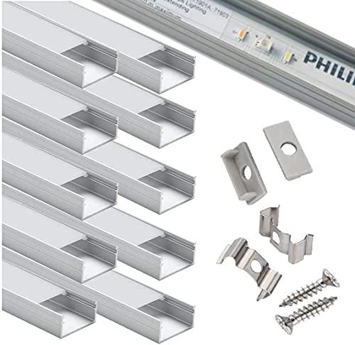 Canal de aluminio ancho, StarlandLed paquete de 10 canales de aluminio para Tira de LED 16mm con todos los accesorios de montura, perfectos para la Philips Hue LightStrip Plus