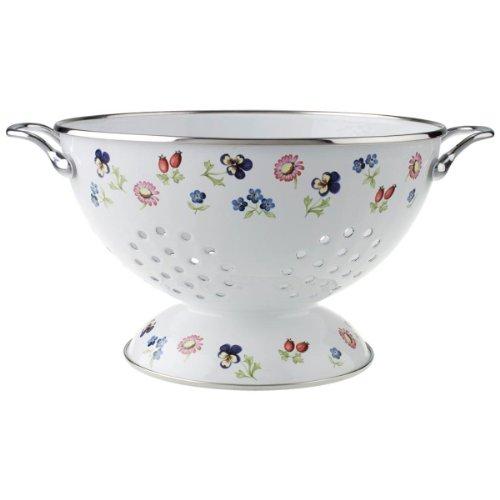 Villeroy & Boch Petite Fleur Kitchen Sieb, Küchensieb mit filigranem Blumendruck in Landhausoptik, emaillierter Stahl, weiß/bunt