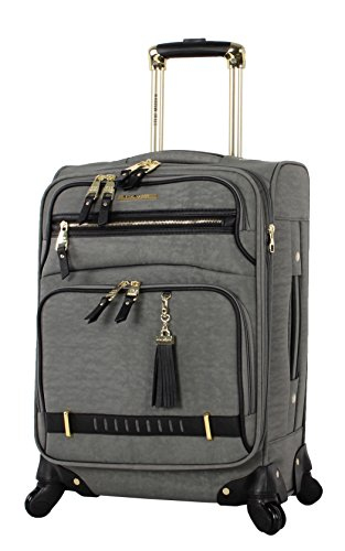 Steve Madden Designer Luggage Collection - Lightweight Softside Expandable Suitcase for Men & Women - Durable 20 Inch Carry On Bag with 4-Rolling Spinner Wheels (Peek-A-Boo Grey)