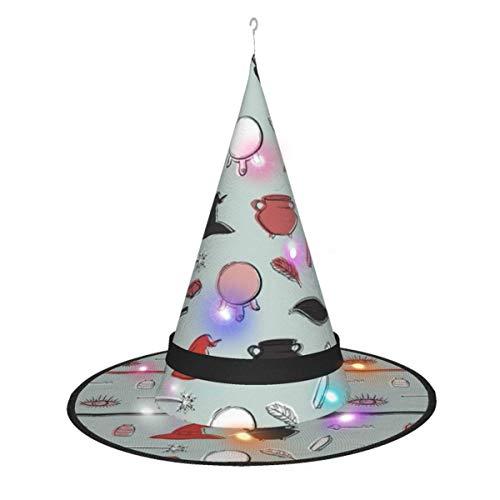 dongshan Halloween Dekorationen Hexenhut, Hexenbesen Magic Design Hanging Lighting Glowing Witch Hat Spitze Kappe für Erwachsene und Kinder Outdoor-Dekorationen, Baum, Hof
