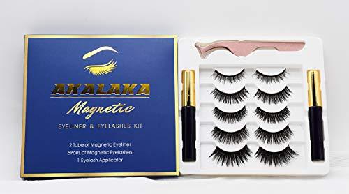 5 Pairs Magnetic Eyelash kit with Eyeliner, Reusable Magnetic Lashes with 2 Tubes Magnetic Eyeliner and Tweezer, False Eyelashes Natural Look No Glue