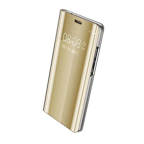 Huawei Mate 9 Hülle, Huawei Mate 9 Pro Hülle Mirror Hülle Spiegel Handyhülle PU Leder Flip Hülle Cover Schutz Echtleder Tasche Etui Lederhülle Schutzhülle für Huawei Mate 9 (Gold, Huawei Mate 9)