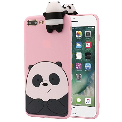 iPhone 7 Plus Case,SMYTshop 3D Cartoon Animals Cute Bare Bears Soft Silicone Skin Cover for Apple iPhone 7 Plus 5.5 Inch (Pink)