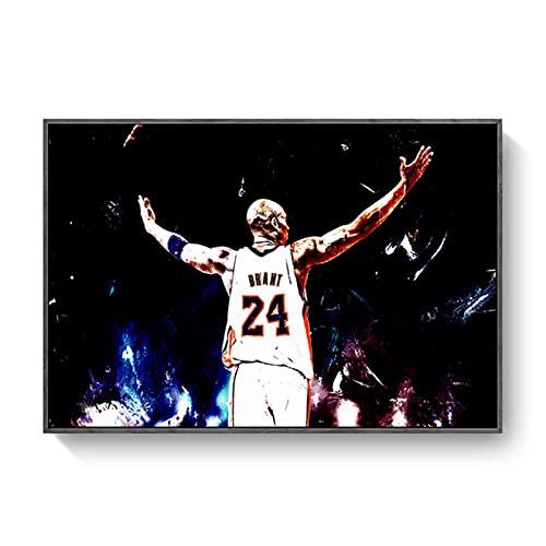FAZHWEI Cuadro en Lienzo 60x90cm Sin marco Póster De Kobe Bryant Michael Jordan Lebron James, Lienzo De Baño, Pintura, Decoración De Pared, Casa De Oficina