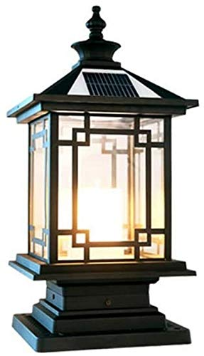 BANNAB Square Solar Pillar Lights LED Outdoor Garden Lamps Fence Posts Outdoor Lighting Traditional Black Porch Glass Lantern Column Decor Streetlight With Celer Glass (Size : 28 * 59cm)