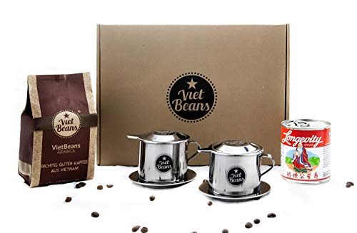 """VietBeans Vietnamesisches Kaffee Starterset """"Frühstück zu zweit"""" - 250g gemahlener Röstkaffee 100% Arabica + 2 x Edelstahlfilter (Phin) + gez. Kondensmilch"""