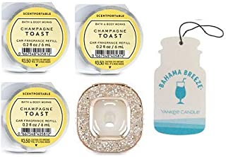 Bath and Body Works Glitter Square Vent Clip Car Fragrance Holder and 3 Scentportable Champagne Toast + Paperboard Car Fragrance Bahama Breeze.