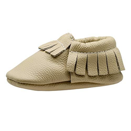 Tênis de couro para bebês iEvolve Baby First Walking Shoes Baby Tassel Shoes de sola macia para berço Mocassim para bebê, Bege, 0-6 Months Infant