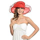 IL Caldo Women's Kentucky Derby Sun Hat Fascinator Flowers Wide Brim Gauze Hat Headdress,Red