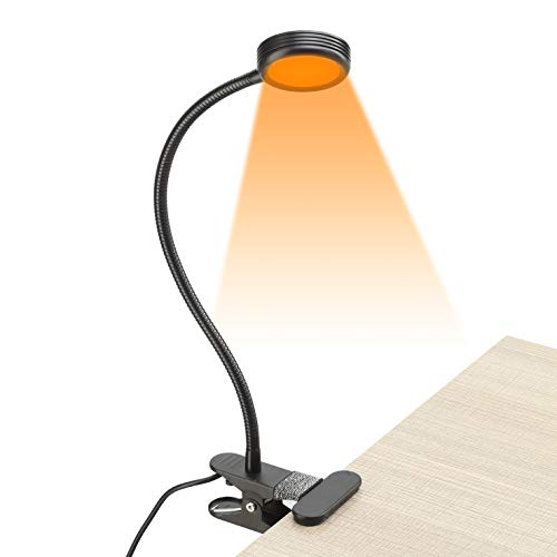 Vekkia Clip on Amber Book LightBlue Light Blocking3 Color x 3 Brightness24 LED reading light Perfect For Clip On Desk Bed Headboard And Computerblack
