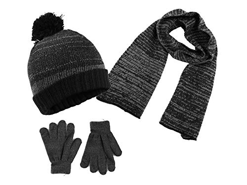 Polar Wear Boys Knit Hat, Scarf and Gloves Set (See More Colors) (One Size, Charcoal (1262)