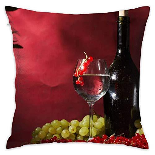 Butlerame Throw Pillow Cover Wine Fruits Uvas Cama Sofá Funda de Almohada Almohada para Dormir Cojín Suave 18 'X 18'