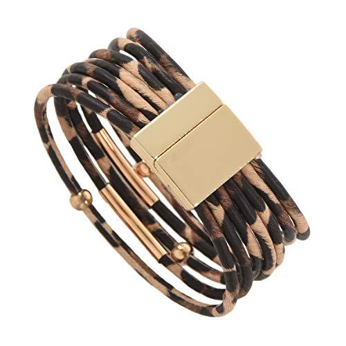 TOOGOO Mode Tier Leoparden Muster Armband Wickel Armband Fuer Legierung Rohr Mehr Schichtigen Armreif Schmuck Geschenk