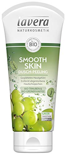 lavera Smooth Skin Dusch-Peeling Bio Trauben & Bio grüner Kaffee ∙ Geglättetes Hautgefühl ∙ Vegan Bio Pflanzenwirkstoffe Naturkosmetik Natural & innovative Duschgel, 2er Pack(2 x 200 ml)