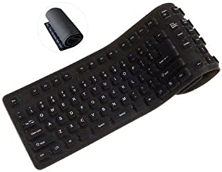 Inland 70140 Silicone Roll Up USB Keyboard Washable with LED Lights (Black)