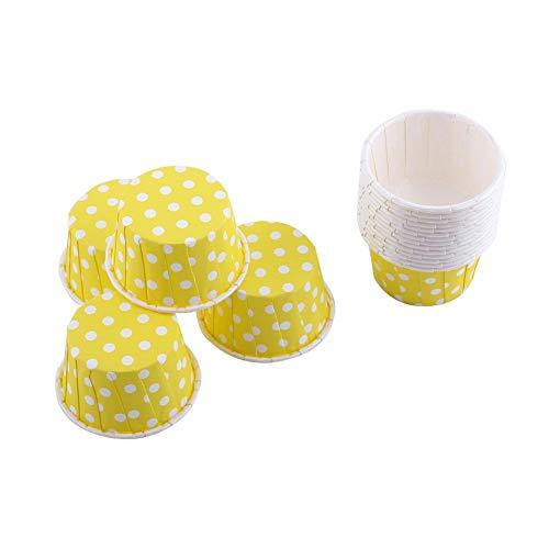 Cupcake Fälle, 100st Mini Backen Tassen Muffin Fälle Papier Kuchen Tasse für Party Hochzeit, Gelb, 1.97 x 1.18 Zoll