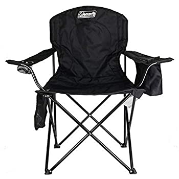Coleman Camp Chair with 4-Can Cooler | Folding Beach Chair with Built In Drinks Cooler | Portable Quad Chair with Armrest Cooler for Tailgating Camping & Outdoors  Black Roomy seat  24