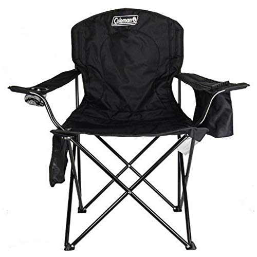 Coleman Camp Chair with 4-Can Cooler | Folding Beach Chair with Built In Drinks Cooler | Portable Quad Chair with Armrest Cooler for Tailgating, Camping & Outdoors