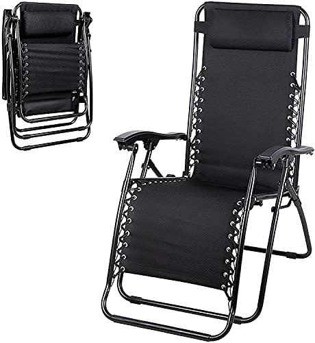 Sillas de Camping Portátiles, Sillón de salón al aire libre portátil, chaise con 150 y deg; Tirador reclinable de patio ajustable de espalda, liviano con almohada de cabeza, for la playa que toma el s