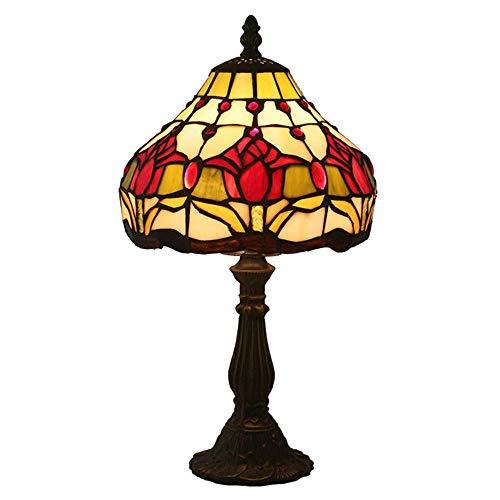 DALUXE Lámpara de Escritorio de la lámpara de Escritorio de la lámpara de Cristal manchada de la lámpara de la Noche de la lámpara de Cristal de la lámpara de Escritorio Retro