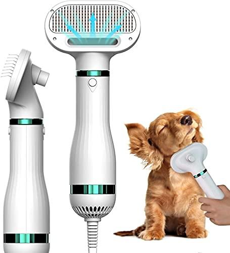 Secador de pelo para perros Secador de pelo 3 en 1 con cepillo, temperatura ajustable y depilación con un botón, peine para mascotas, secador de pelo portátil para perros pequeños y medianos y gatos