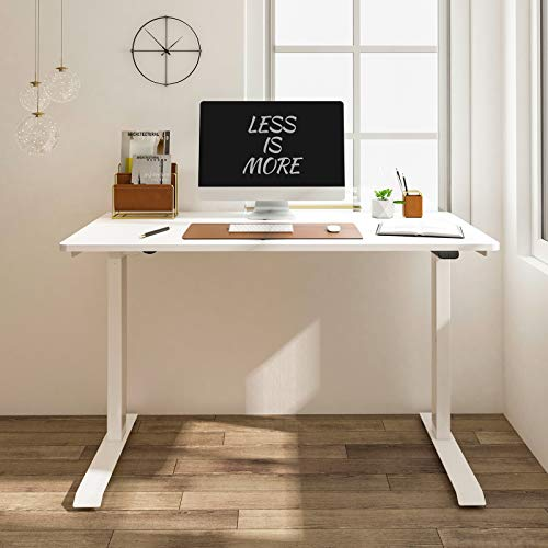 """Flexispot Standing Desk Electric Quick Install Height Adjustable Desk 48 x 24 Inches Whole-Piece Desk Board (White Frame + 48"""" White Top)"""