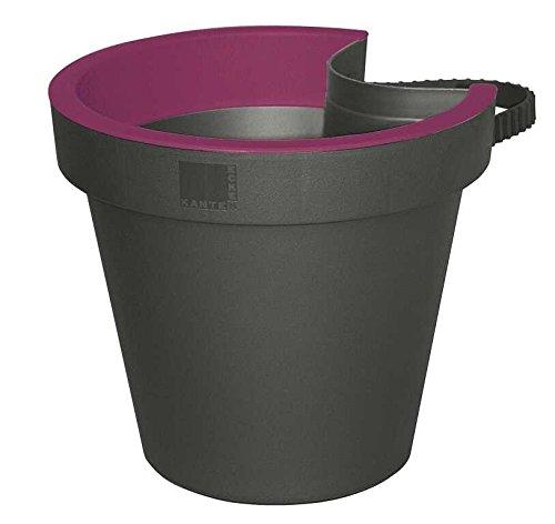 E&K Pflanztopf Topf für Regenrohr Fallrohr Regenrinnentopf, Farbe:anthrazit/purple