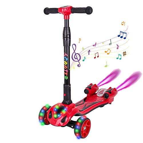 Purchase CXMScooter Kick Scooter 3 Colors Flashing Wheel Rocket Scooter with Music & LED Spray Light...